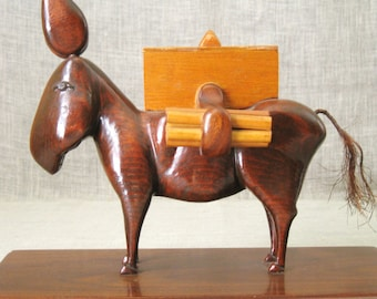 Folk Art , Cigarette Box , Naughty , Cigarette Dispenser , Mule , Horse , Folk Art Animal , Handmade , Equestrian , Folk Art Carving