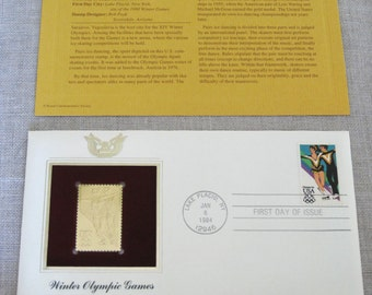 First Day Issue , Stamp , Winter Olympics , Ice Dancing , Gold Stamp , Commemorative Stamp , Postage , Stamp Collecting , Stamps