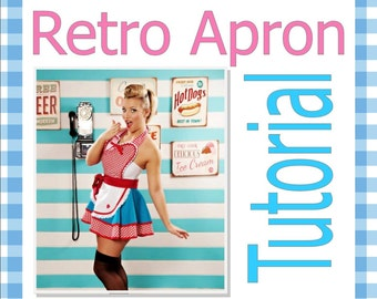 Apron Tutorial and Pattern PDF Dotties Diner Apron Retro 50s Apron Sewing Tutorial Digital Instant Download