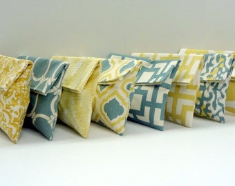 READY TO SHIP // 8 Clutches Gold Yellow and Blue Gray Bridesmaid Gifts Cosmetic Bags