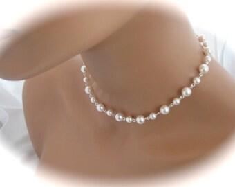 White pearl necklace Wedding Jewelry Swarovski pearl bridal jewelry