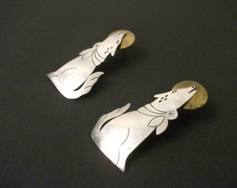 Vintage Sterling Silver and Brass Wolf Dog Pierced Earrings