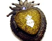 Mexican Sacred Heart Mini Locket Reliquary Pendant with Sacred Heart Milagro & Swarovski Crystal - Artisan