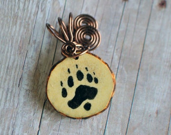Bear Paw Print Real Wire Wrapped Antler Slice Pendant