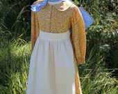 Girl's Simple Pioneer Dress w/ Half Apron and Bonnet Sizes 2-12