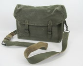 Vintage 1950s French Canvas and Leather Unisex Shoulder Crossbody Bag