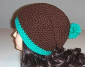 Slouchy Hat, Crochet Beanie Hat, Brown and Aqua, Blue and Brown, Mens Accessories, Skaters Hat, Winter Hat, Fall Hat