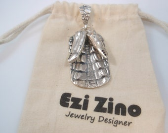 Original Ezi zino dog tag Crocodile alligator Texture Crocodile teeth Black Diamonds 0.10 ct  Pendant Handmade solid Sterling Silver 925