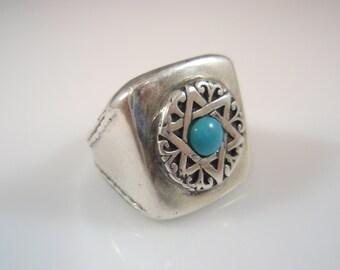 EZI ZINO Star of David magen david Turquoise Signet ring Sterling Silver 925