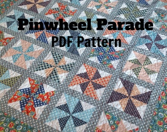 PDF quilt pattern -- Pinwheel Parade-- multiple size options -- instant download