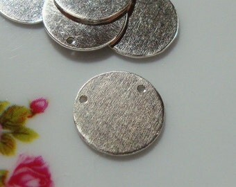 Bulk 10 pcs, 10 mm, 3/8 inch, 24 ga gauge, Sterling Silver Handmade disc with 0.8mm holes, stamping, circle pendant