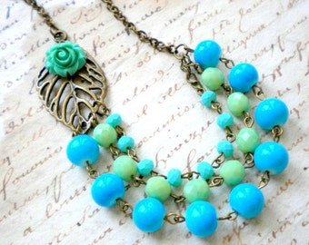 Turquoise Necklace Tropical Jewelry Turquoise Bib Necklace Green Statement Necklace Flower Necklace Summer Wedding Jewelry Bridesmaid Gifts