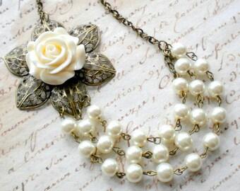 Pearl Statement Necklace Ivory Bridal Necklace Ivory Wedding Jewelry Bib Flower Necklace Three Strand Beadwork Ivory Bridesmaid Necklace