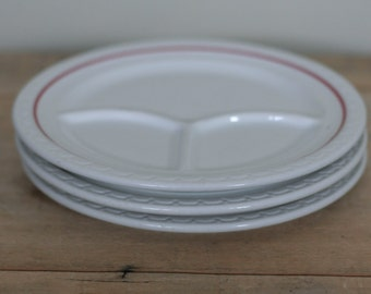 vintage divided plates by syracuse china econo rim set of three