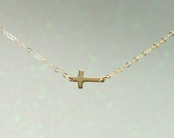 Small Gold Sideways Cross Necklace