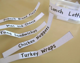 Printable- PDF- The Lunch Lottery for Kids- 33 Yummy Lunch Ideas to End Lunchtime Monotony!