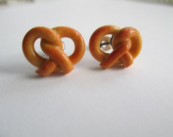 Pretzel Earrings - Polymer Clay Tiny Food Jewelry
