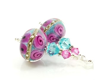 Pink & Blue Earrings, Lampwork Earrings, Glass Earrings, Glass Bead Earrings, Beadwork Earrings, Floral Earrings, Glass Bead Jewelry