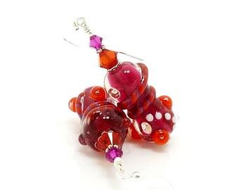 Abstract Earrings, Hot Pink & Orange Earrings, Lampwork Earrings, Beadwork Earrings, Glass Art Earrings, Glass Earrings, Unique Earrings