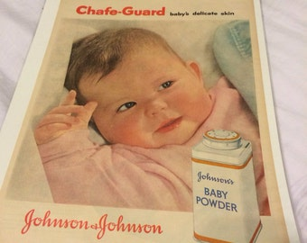 Johnson & Johnson Baby Powder ad circa 1956