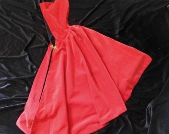 Girl's Red Velveteen Cloak, 3-5 years