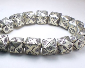 12mm Large Karen Hill Tribe Bead Square Origami Bead Fine Silver 1 pc. HT-191