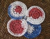 Crochet scrubbie-Red Blue and White