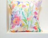 Patch of Fleurs Watercolor Floral Pillow Covers, 18x18, 20x20, 24x24 Designer Floral Fabric, Watercolor Flowers Pillow Accent