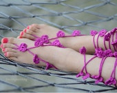 Pink Barefoot Sandals, Lace Barefoot Sandals, Foot Jewelry, Beach wedding sandals, Wedding Anklet, Anklets for Women