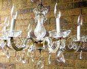 Reserved for Sandy// crystal, glass vintage ceiling chandelier Venetian glass