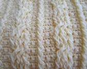 Crochet Cables Stitch Blanket Pattern, afghan pattern, crochet christening blanket pattern, Instructions to Make it ANY Size with Videos!