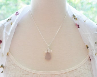 Sea Glass Jewelry Beach Clustered Necklace in Lavender Sterling Silver and Pearls 2234C
