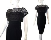 Vintage 1950s Little Black Wiggle Chantilly Lace Cocktail Dress LBD