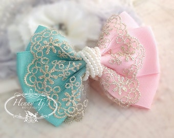 NEW: Ella Grace Collection - MINT / Light Pink Ribbon Lace Hair Bow knot Applique. Hair accessories. Peart Bow. Baby fabric Bow.