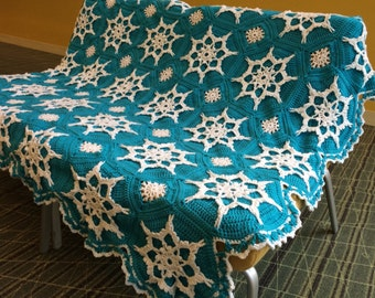 Elsa Frozen Inspired Snowflake Afghan Crocheted Blanket - Will be made fresh after sale