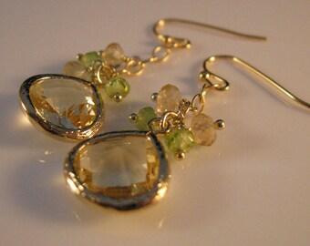 Gold bezel gemstone cluster Earrings, cluster earrings, gold earrings, drop earrings, dangle earrings, bezel earrings