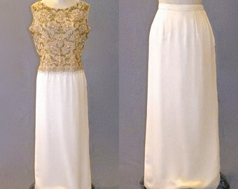 Vintage 1960s Skirt, 60s Cocktail Skirt, Ivory Silk Pencil Skirt, British Colony of Hong Kong, XS
