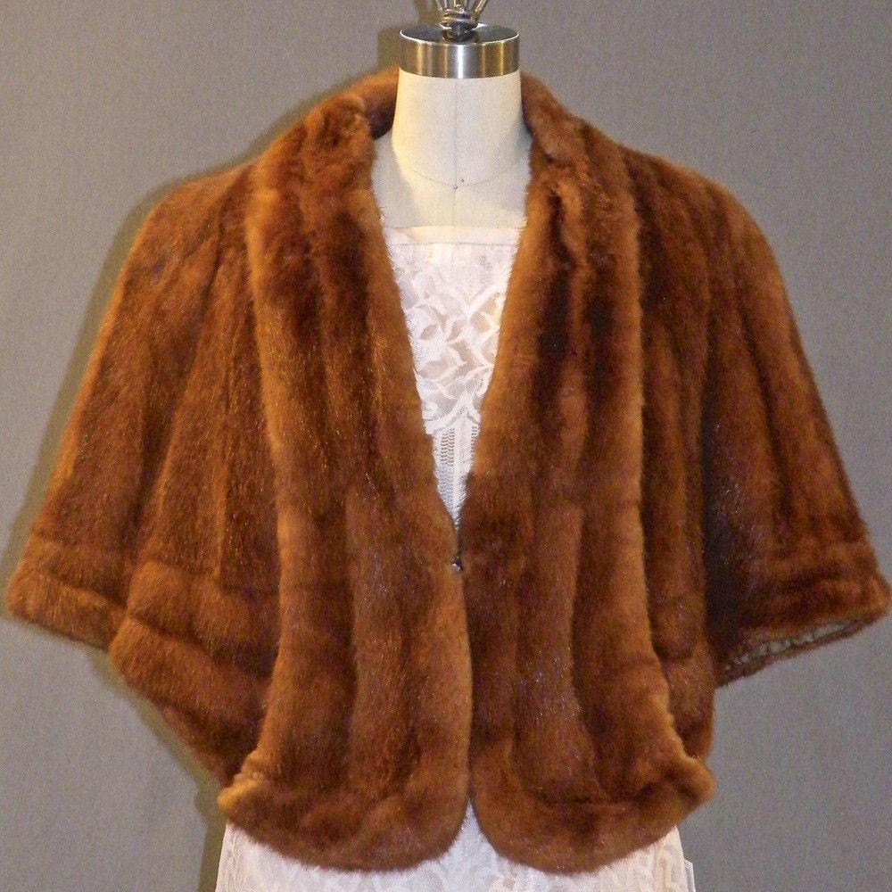 Vintage 50s Mink Fur Cape Red Glow Wedding Wrap Stole