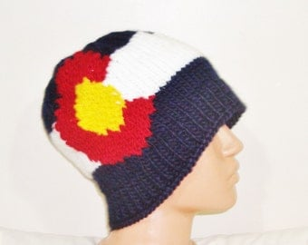 Colorado Flag Beanie Hat for Womens Winter Hat Beanie Colorado Flag Coloradon - hand knit hat - Coloradon gifts ideas