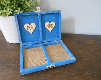 Rustic Personalized Ring Box His and Her's Custom color engraved, ring bearer pillow, chalkboard or wood tag royal blue box