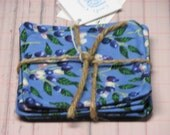 1 Set of 4 blueberry Coasters handmade Made in Maine Blue Background by Carol's Country Crafts  watercolor