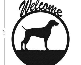 Dog Weimaraner Black Metal Welcome Sign