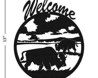 Bison Buffalo Black Metal Welcome Sign