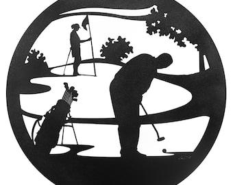 Hand Made Golfer PGA WPGA Golf Art Scenic Art Wall Design *NEW*