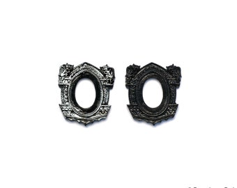 New SMALL size Set of 2 Black Gothic Gargoyle Open Back Vintage Style Frame for Cabochon....18mm x 25mm