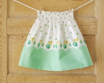 Girls M (5/6) Vintage Floral Pillowcase Skirt- Mint Green Irish Roses- Girls Spring Fashion- St Patrick's Day Fashion