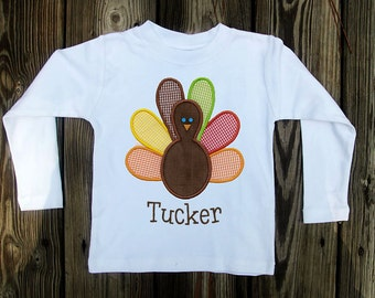 Boys applique turkey shirt