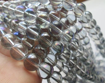 Transparent Purple Mystic Glass Rounds 10mm Half Strand (Item Number RS121)