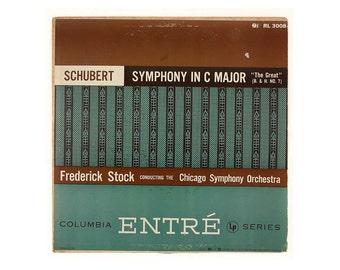 "Ronald Clyne record album design, 1952. ""Schubert: Symphony in C Major"" LP"