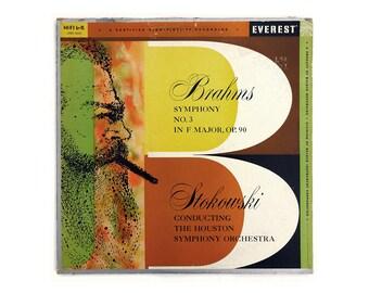 "Alex Steinweiss (attr.) record album design, 1959. Leopold Stokowski ""Brahms Symphony No. 3 in F Major"" LP"